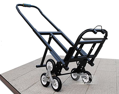 Carbon Steel Two Wheeler Stair Climbing Hand Truck Black