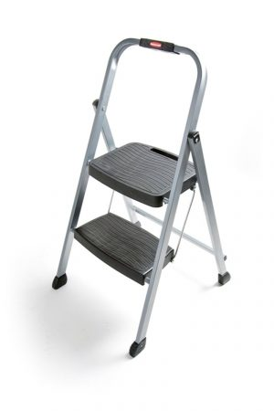 Rubbermaid RM-2W Folding 2-Step Steel Frame Stool with Hand Grip